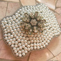 Silver Rhinestone Belt Buckle, Gold Flower, Western Womens Southwestern Pearl Belt Buckle, Flower Belt, Cowgirl Custom Buckle
