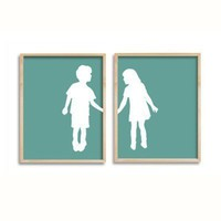 Custom Silhouette children holding hands double by happythought