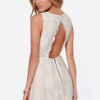 Antique Technique Cream Lace Dress
