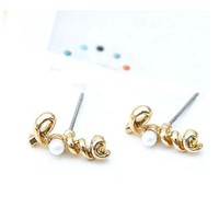 Gold Twisted Love Pearl Earrings