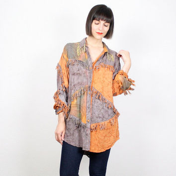Vintage Orange Gray Purple Shirt Tie Dye Top Batik Hand Painted Fringe Beaded Oversized Blouse Tunic Top Hippie Boho Festival Top L Large XL