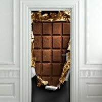 "Door Wall Fridge VINYL STICKER or not sticky PAPER chocolate bar poster 30x80""(77x203 cm)"