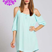Drop Sleeve Shift Dress Mint