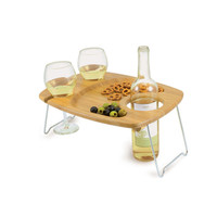 "Picnic Time Mesavino 15"" Wine Serving Table - Holds 2 Wine Glasses"