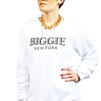 Women's biggie white crew