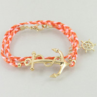 Coral Sails Anchor Bracelet from P.S. I Love You More Boutique