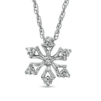Diamond Accent Snowflake Pendant in Sterling Silver - View All Necklaces - Zales