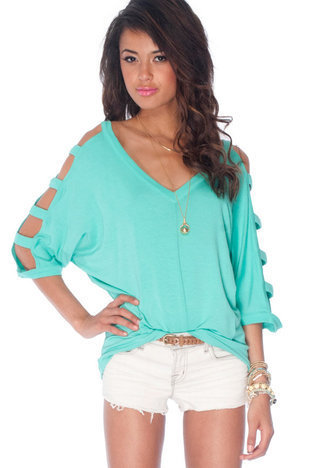 Ladder Sleeve Knit Top in Emerald :: tobi