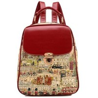 Vintage Ancient Castle Print School Book Shoulder Bag Backpack