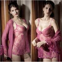 Sexy Sheer Lace 2pc Lingerie Dress and Long Sleeve Cardigan Set