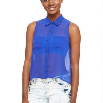 Solid Tulip Back Shirt - Royal Blue