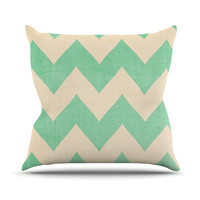 "Catherine McDonald ""Malibu"" Mint Green Chevron Outdoor Throw Pillow"
