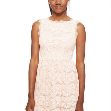 Lace Open Back Dress - Blush