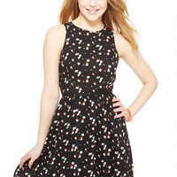 Black Floral Racerback Zip Dress