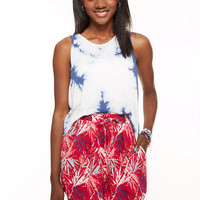 Red Palm Leaves Dolphin Skirt
