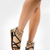 SWIRL-3-4 Leopard Back Gladiator Sandals Women Sandals BLACK Bare Feet Shoes