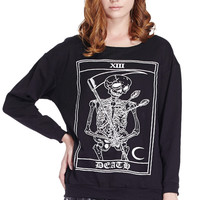 ROMWE Death Skeleton Print Long Sleeve Black Sweatshirt
