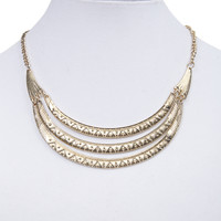 Three Tier Metal Tribal Necklace | Wet Seal