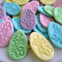 Easter Egg Cupcake Fondant Toppers, Easter Decor Spring, Easter Party, Embossed Fondant Egg Confetti, Sweet Treat, Edible Topper-set 60