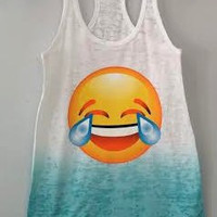 Burnout Ombre Racerback Tank - Laughing To Tears Emoji
