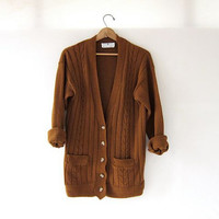 vintage 80s oversized sweater. brown cardigan. cable knit pocket sweater.