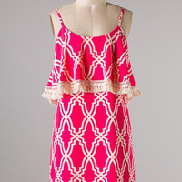 On the Fringe Dress - Pink - Hazel & Olive