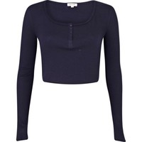 Navy blue rib long sleeve crop top - t-shirts / tanks / sweats - sale - women