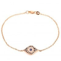 MYTHERESA.COM EXCLUSIVE 18KT ROSE GOLD KITTEN EYE BRACELET WITH PAVÉ DIAMONDS AND SAPPHIRE