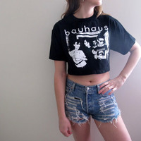 Bauhaus Crop Top Cropped Band Tee Womens Shirt Rock N Roll Punk Grunge Style Midriff Festival