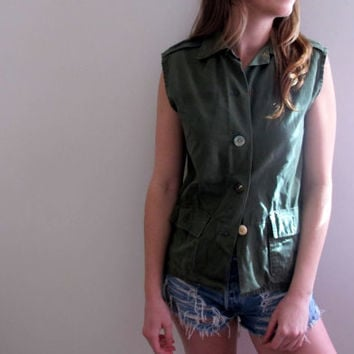 Army Green Blouse Tank Vest Womens Button Up Down Grunge Style Sleeveless Boho Bohemian Summer