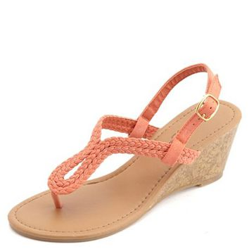 GLITTER BRAIDED LOOP THONG WEDGE SANDALS