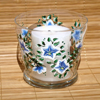 Blue and White Flowered Candle Holder