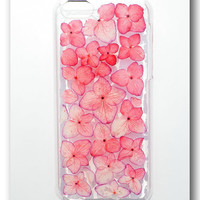 Handmade iPhone 5c case, Resin with Dried Flowers, Red Hydrangea