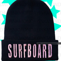 Surfboard Beanie Beyonce Embroidered Hat Skully Skull Cap Womens Yonce Black and Pink Drunk In Love Watermelon Yonce Queen Bey Surfbort
