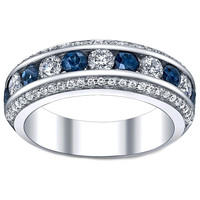 Wedding Band - Three Row Diamonds & Blue Sapphire Wedding - Anniversary Ring 1.4 TCW