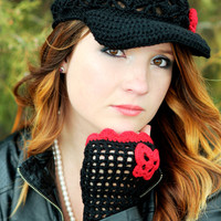 Black Crochet Women Hat and fingerless gloves, Handmade Teen Hats with red, woman Cap , Beanie flower