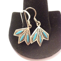 Navajo Turquoise Earrings Sterling Silver 925 Blue Petit Point Leaves Leaf Native American Tribal Indian Southwestern Vintage Jewelry Gift