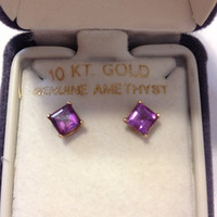 10K Amethyst Earrings Gold Genuine Purple Stones Princess Cut 10KT Yellow NIB New Boxed Vintage Jewelry Bridal Prom Birthstone Gemstone Gift