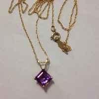 10K Amethyst Necklace Gold Princess Cut Genuine Purple Stones 10KT Pendant Slide Charm Vintage Jewelry Bridal Prom Birthstone Gemstone Gift