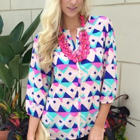 Blush Geo Print Blouse