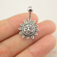 Sun flower Belly Button Rings, Navel jewelry,lucky belly button jewelry,friendship belly rings,summer jewelry