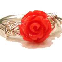 Red Rose Ring-Wire-Wrapped Ring-Sterling silver plated