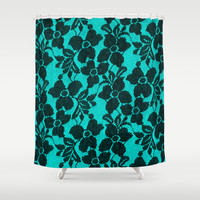 Black lace on blue Shower Curtain by Alice Gosling