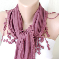 Purple Plum purple coton with lace scarf by Periay on Etsy