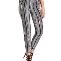 Mixed Print Striped Jogger Pants