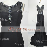 2014 Prom Dress,Gorgeous Beads Black evening dress,Long Prom Dress,Evening gown,Formal Dress