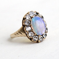 Antique 8K Rose Gold Opal & White Sapphire Cluster Ring- Vintage Size 5 Early 1900s Edwardian Fine Jewelry