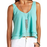 LAYERED CHIFFON SWING CROP TOP