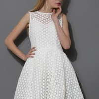 White Daisy Embroidered Midi Dress