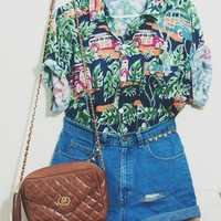 Vintage Mystery Hipster Hawaiian Shirt & High Waisted Shorts Vintage Outfit (All Sizes)